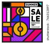 summer sale memphis style web... | Shutterstock .eps vector #766312897