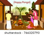 happy pongal religious holiday... | Shutterstock .eps vector #766320793