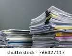 big stack of business report... | Shutterstock . vector #766327117