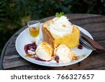 honey toast with ice cream for... | Shutterstock . vector #766327657