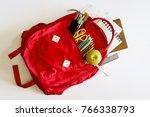 backpack with school supplies... | Shutterstock . vector #766338793