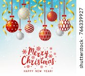 christmas greeting card with... | Shutterstock .eps vector #766339927