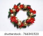 christmas wreath on white...   Shutterstock . vector #766341523
