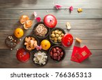 flat lay chinese new year food... | Shutterstock . vector #766365313