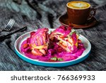 tasty pancakes with dragon fruit | Shutterstock . vector #766369933