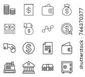 thin line icon set   coin stack ... | Shutterstock .eps vector #766370377