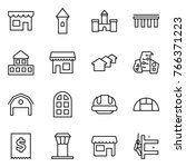 thin line icon set   shop ... | Shutterstock .eps vector #766371223