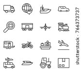 thin line icon set   delivery ... | Shutterstock .eps vector #766373737