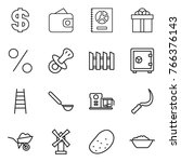 thin line icon set   dollar ... | Shutterstock .eps vector #766376143