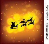 santa claus riding reindeer... | Shutterstock .eps vector #766384657