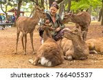young woman petting four deer...   Shutterstock . vector #766405537
