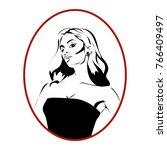 woman diva monochrome cartoon...   Shutterstock .eps vector #766409497