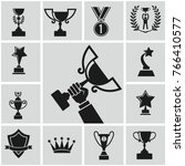 black trophy and awards icons... | Shutterstock . vector #766410577