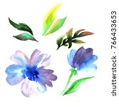 Stock photo bright multicolored watercolor flowers isolated on white background 766433653