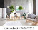 green painting in a modern eco... | Shutterstock . vector #766437613