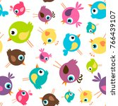 seamless pattern with funny... | Shutterstock . vector #766439107