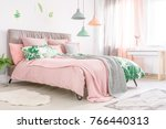 king size bed with soft bedhead ... | Shutterstock . vector #766440313