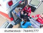 overhead view of paramedic team ... | Shutterstock . vector #766441777