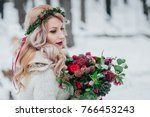 a young girl of slavic... | Shutterstock . vector #766453243