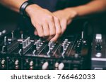 dj controls a remote at a club... | Shutterstock . vector #766462033