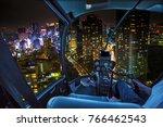 helicopter flying over tokyo... | Shutterstock . vector #766462543
