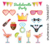 hen   bachelorette party vector ... | Shutterstock .eps vector #766466557