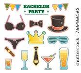 bachelor party vector... | Shutterstock .eps vector #766466563
