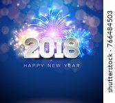 happy new year 2018... | Shutterstock . vector #766484503