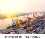 container container ship in... | Shutterstock . vector #766490833