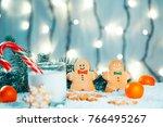 christmas gingerbread and milk... | Shutterstock . vector #766495267