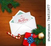 open envelope with card merry... | Shutterstock . vector #766511977