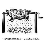 pig roasting on the spit | Shutterstock .eps vector #766527523