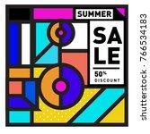 summer sale memphis style web... | Shutterstock .eps vector #766534183