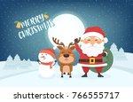 happy merry christmas vector... | Shutterstock .eps vector #766555717
