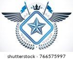 vintage emblem made in vector... | Shutterstock .eps vector #766575997