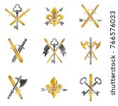 vintage weapon emblems set.... | Shutterstock .eps vector #766576033