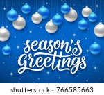 seasons greetings script text... | Shutterstock .eps vector #766585663