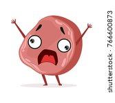 scared piece of ham standing...   Shutterstock .eps vector #766600873