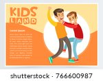 two boys hitting each other on... | Shutterstock .eps vector #766600987
