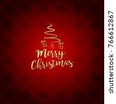 merry christmas red postcard... | Shutterstock .eps vector #766612867