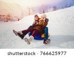happy people on tube outdoors... | Shutterstock . vector #766625977