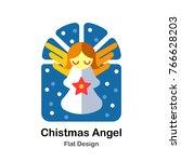 christmas angel flat... | Shutterstock .eps vector #766628203
