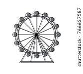 attraction ferris wheel... | Shutterstock .eps vector #766637587