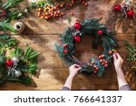 overhead. christmas time. on... | Shutterstock . vector #766641337