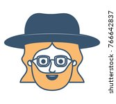 male face with hat and glasses... | Shutterstock .eps vector #766642837