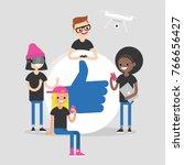 a group of millennial friends... | Shutterstock .eps vector #766656427