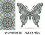 decorative butterfly and... | Shutterstock .eps vector #766657507