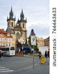 Small photo of PRAGUE, CZECH REPUBLIC, EUROPE - NOVEMBER 28, 2017: Concrete roadblocks in front of Christmas market. Traffic restriction and security provision against terrorist attack. Safety in the city and town