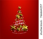 christmas illstration with... | Shutterstock .eps vector #766664257