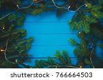 evergreen branch with christmas ... | Shutterstock . vector #766664503